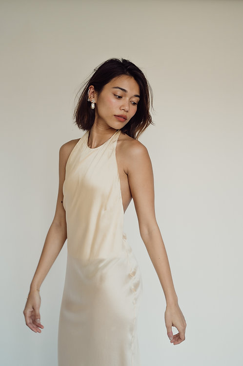Halter Bias Midi Perlas Silk