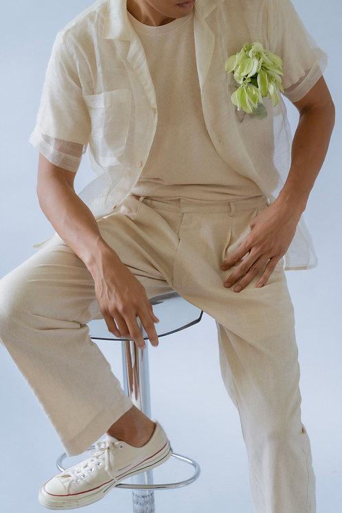 Men's Pleated Trousers Oat (pre-order)