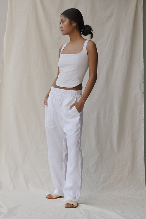 Lounge Pants White Linen