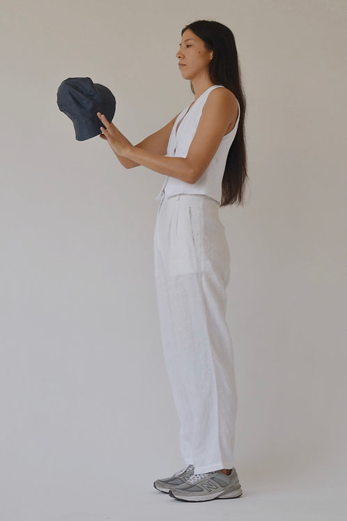 Women's Pleated Trousers White Linen (pre-order)