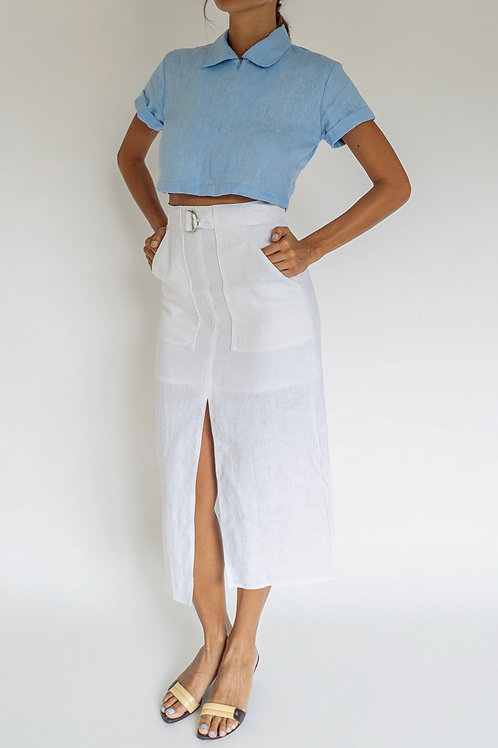 Pure Linen Patch Pocket Skirt White