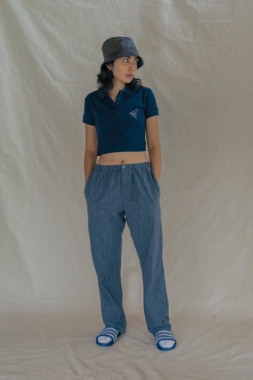 TFC Crop Polo Shirt Navy