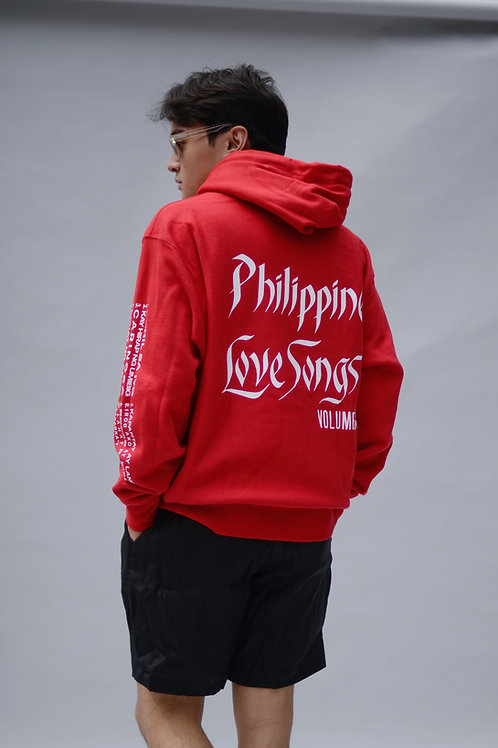 Tropical Futures Love Songs Hooded Sweatshirt Red