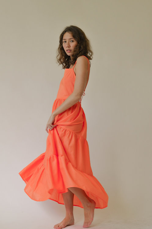 Lantanas Tier Maxi Dress Coral (pre-order)