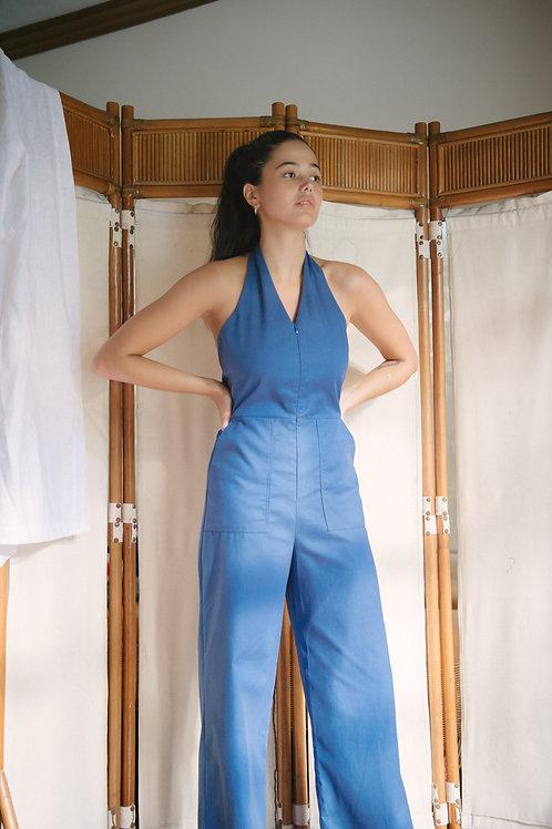 Ace Halter Jumpsuit Classic Blue (pre-order)
