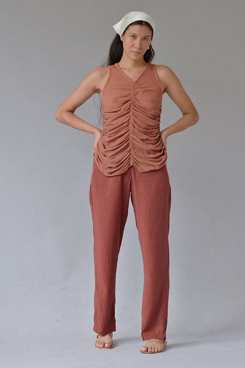 Kostüm V Carven Silk Ruched Tank Terracotta