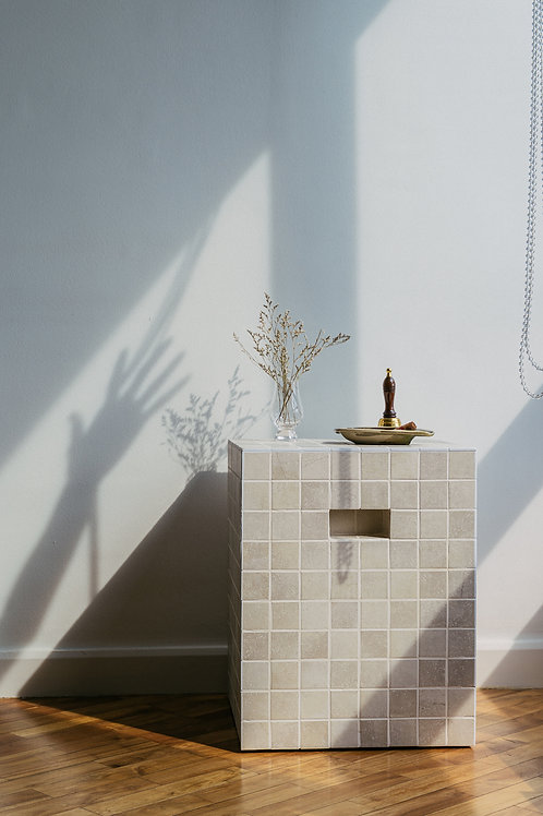 Tropa Tiled Side Table Stone