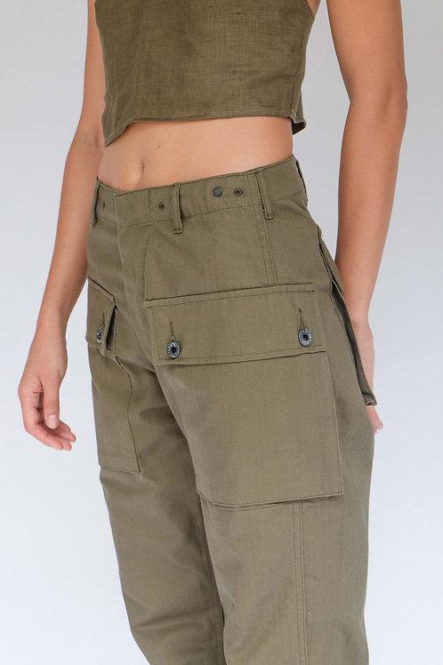 Leon Denim LDP44-HBT Military Trousers Olive (Monkey Pants)