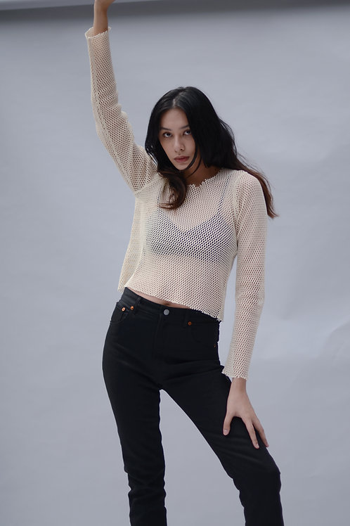 Vivien Ramsay Punk Mesh Top Off White