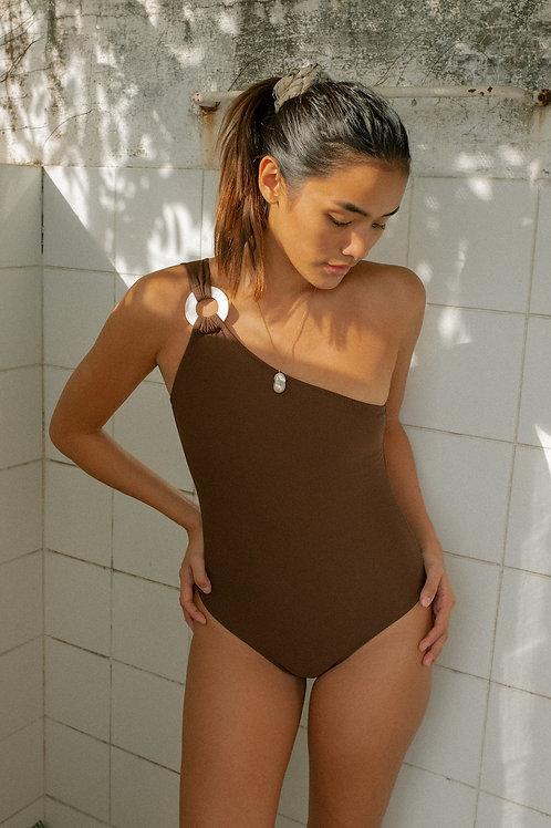Isla Asymmetrical Swimsuit Narra