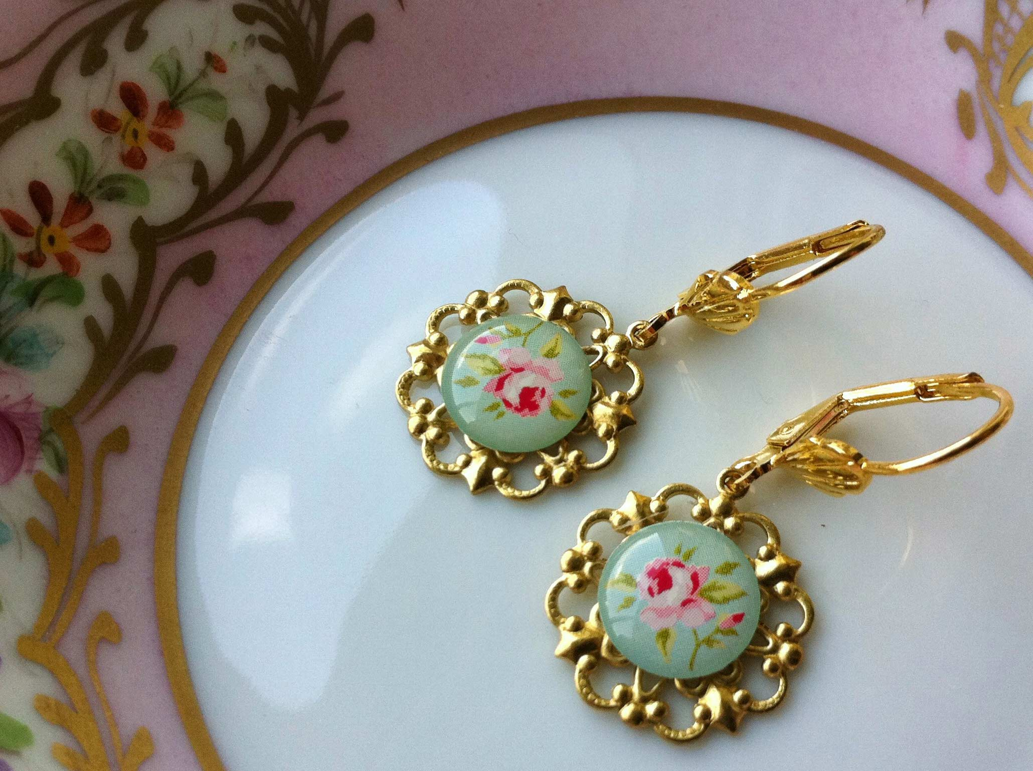 Light Green Rose Earrings
