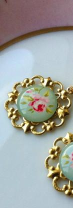 Light Green Rose Earrings
