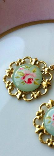 Light Green - Rose Earrings
