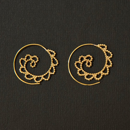 Brass Tribal Dot-Work Wave Spiral Earring
