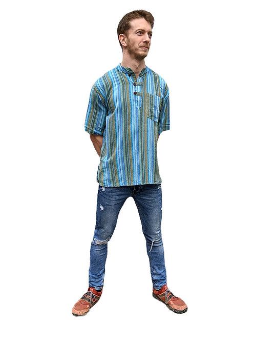Turquoise Tones Woven Cotton  Nepal Stripe Stonewash Short Sleeve Shirtrt