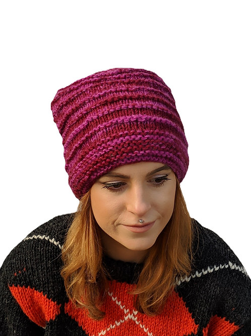 """Women's Ribbed """"Mulled Wine"""" Beanie Wool Hat"""