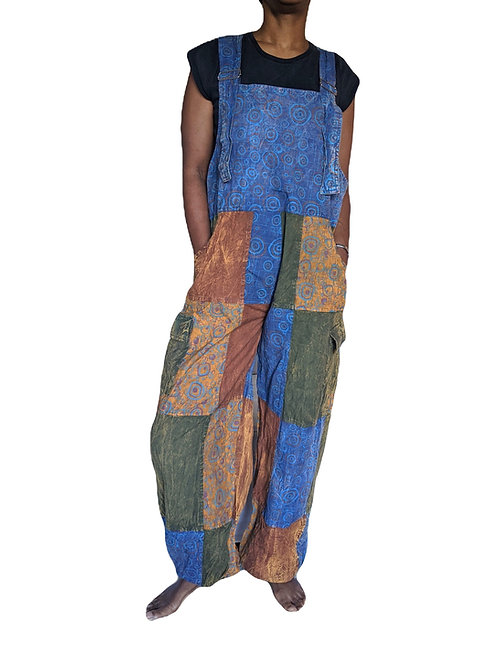 Heavy Cotton Stonewashed Elastic Bottom Patchwork Screen Print Dungarees