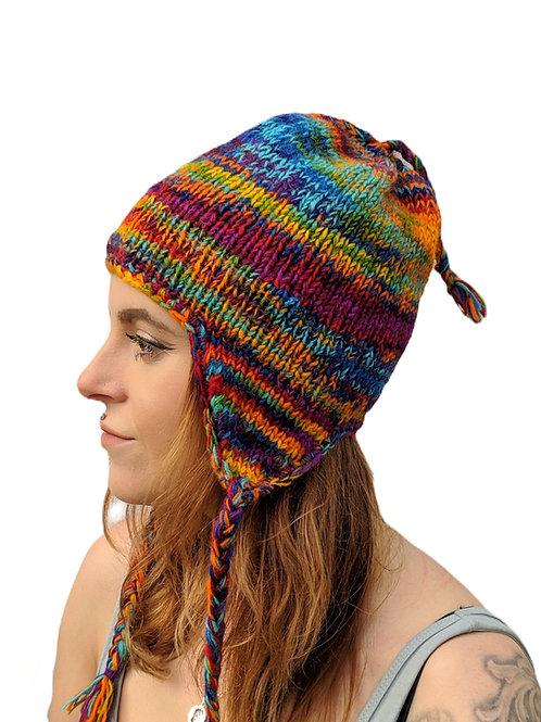 Women's Rainbow Multi Earflap Wool Hat