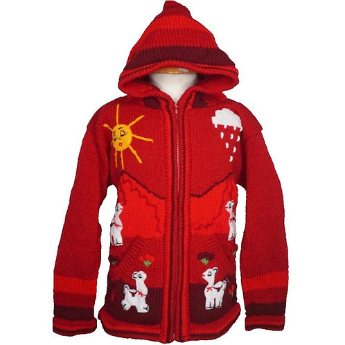 Childrens Village Red Cardigan With Hood