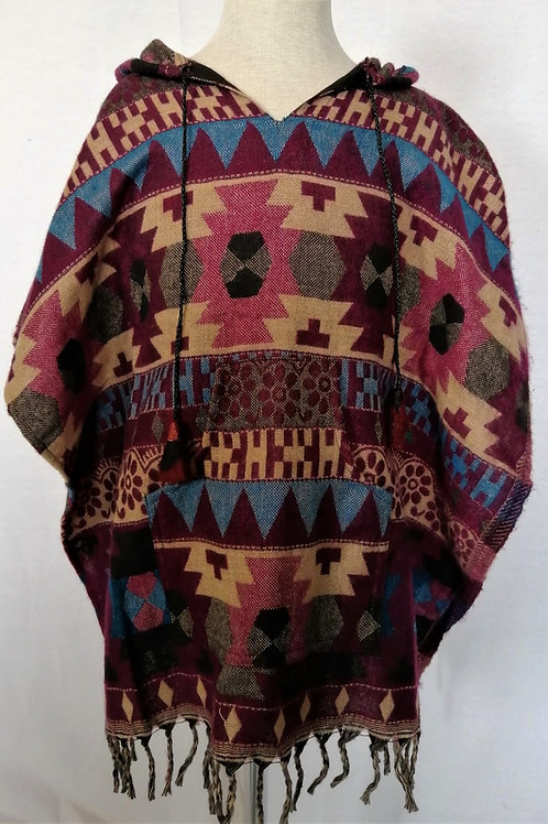 Childrens Aztec Poncho with Hood