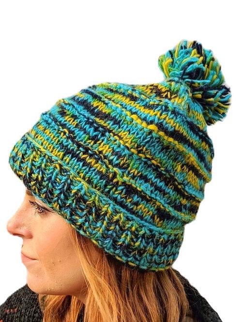 """Bobble Wool Hat """"Turquoise Mist"""" Fleece Lined."""