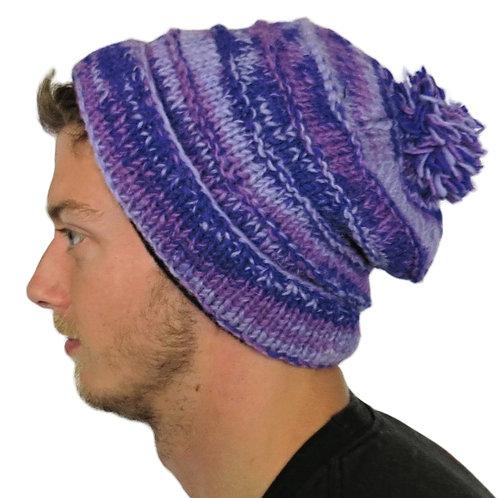 """Bobble Wool Hat """"Purple Mist"""" Fleece Lined"""