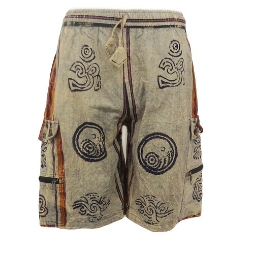 Heavy Cotton Stonewash Stripe Shorts with Blockprint Brown