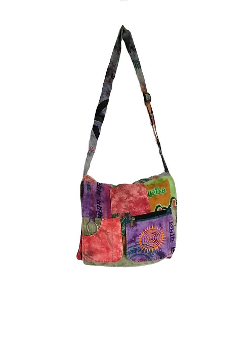 Recycled Rice Sack Cotton Square Embroidered Shoulder Bag