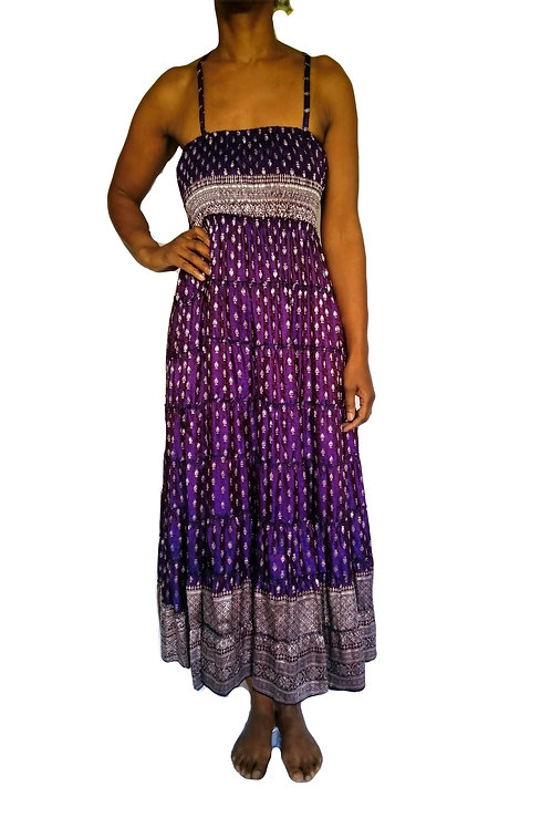 Vintage Satin Sari Purple with Silver Thread Dress and Skirt