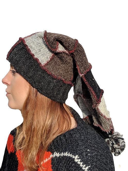 Korean Women's Natural Patchwork Wool Hat with Fleece Lining.