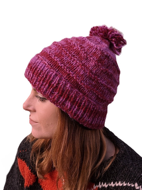 "Bobble Wool Hat ""Mulled Wine"". Fleece Lined."