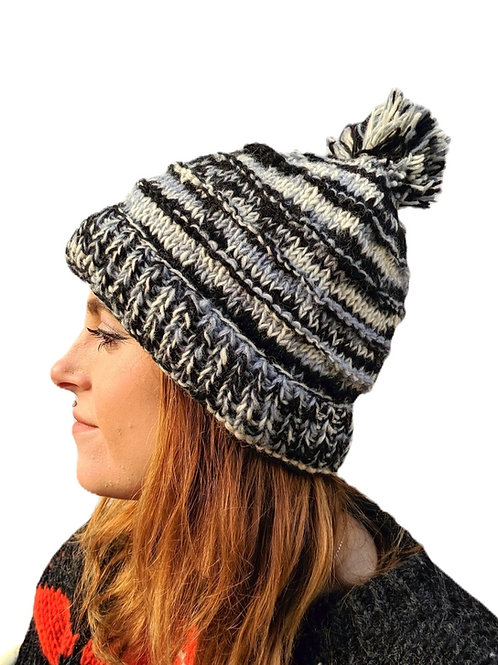 "Bobble Wool Hat ""Grey Skies"". Fleece Lined."