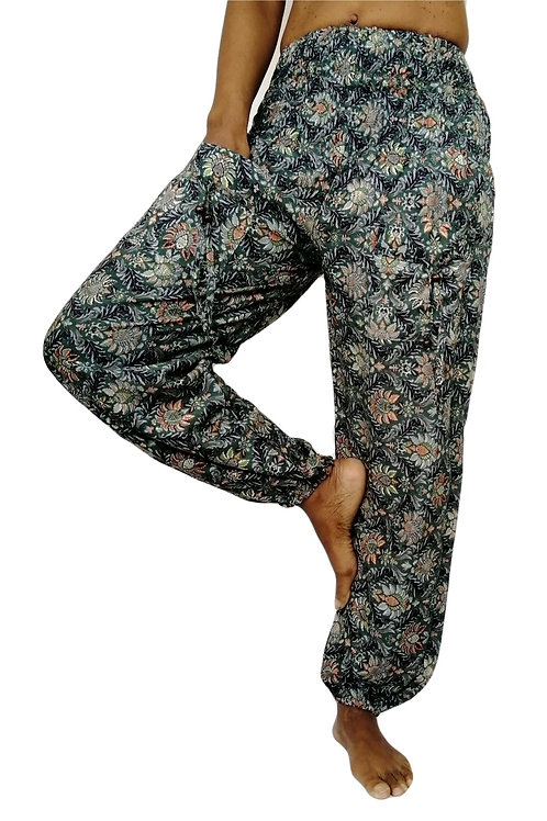 Rayon Krishna Flower Print Natan Trousers (In 2 Colours)