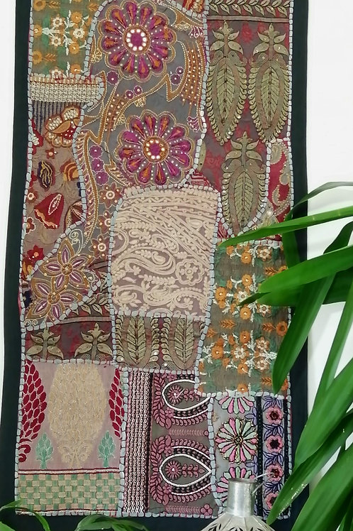 Small Grey Multi Design Upcycled Embroidery Hanging