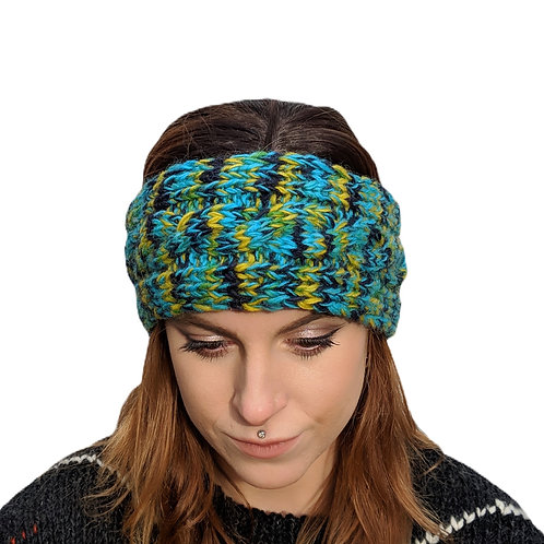 "Headband ""Turquoise Mist"""" Wool and Fleece."