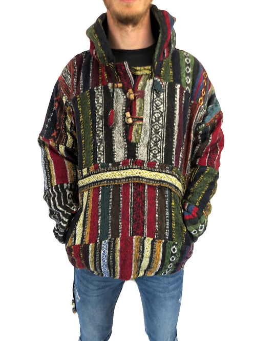 Brush Cotton Patchwork Pullover Fleece Lined