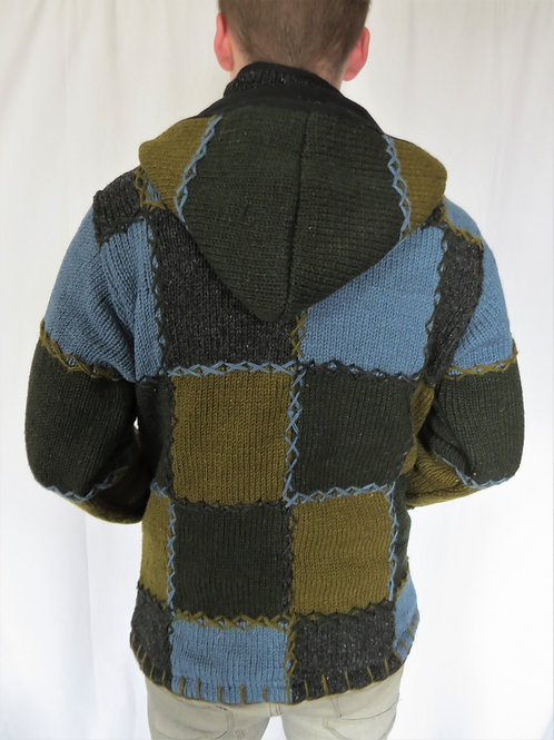 Patchwork Greens Blues Hood Wool Jacket Fleece Lined