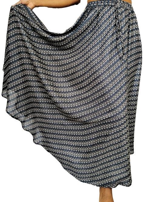 Soft Rayon Teal Grey Spot Design Skirt
