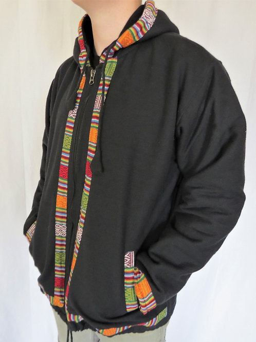Woven Cotton Nepal Trim Jacket (in 2 colours) Fleece Lined