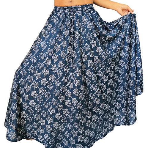 Rayon Blue with Grey Design Skirt