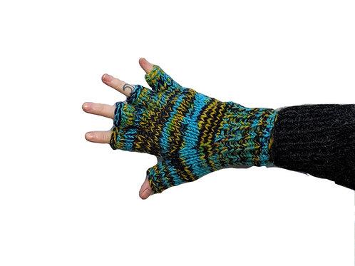 """""""Turquoise Mist"""" Fingerless Gloves Fleece Lined"""