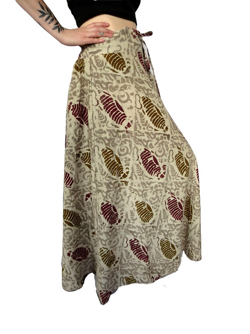 Hand Blockprint Beige and Shell Cotton Skirt