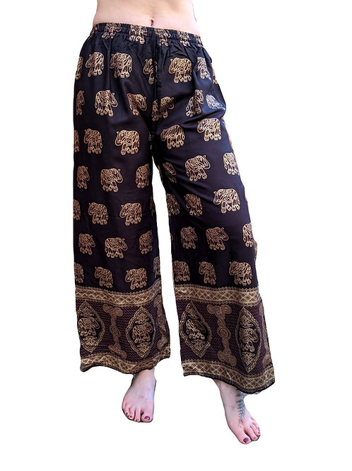 Palazzo Gold Elephant Print Rayon Flared Trousers