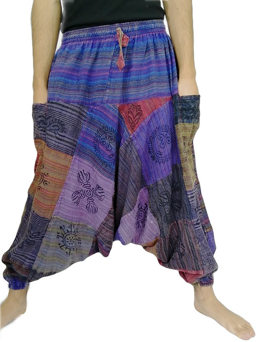 Patchwork Stripe Blockprint UNISEX Afghan Trousers (in 2 Colour Tones)