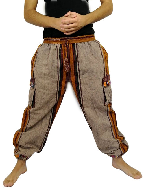 Fleece Lined Heavy Shyama Cotton Trim Trousers with Tie Strings (in 2 Colours)