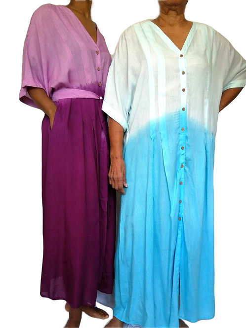 Long Full Button Three Dye Dress (In 3 Colours)