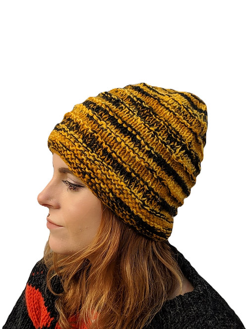 "Women's Ribbed ""Mustard Tiger"" Beanie Wool Hat"