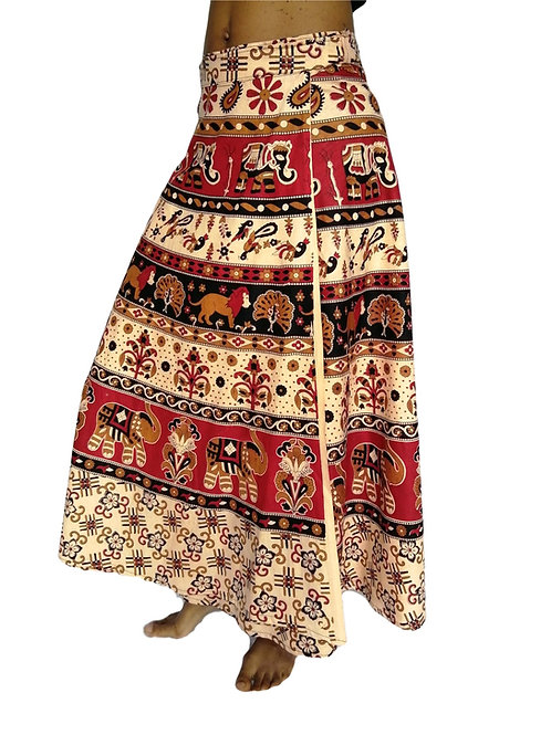 Indian Print Cotton Wrap Skirt (in 2 Colours)