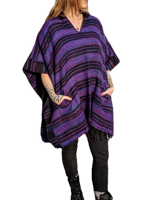 "Acrylic  Feels Like Wool UNISEX ""Israeli Shawl"" Poncho"