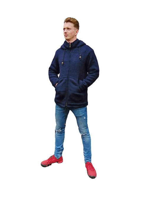 Dark Blue Wool Jacket Fleece Lined and Hood